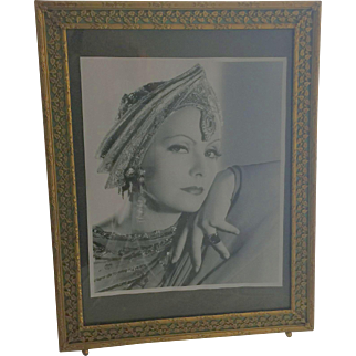 Vintage Art Deco Picture Frame Reverse Painting on Glass Brass Bronze Easel Back