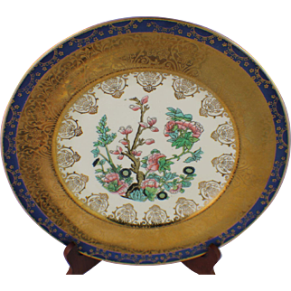 8 Indian Tree China Dinner Plates 22K Gold Plated Edgewood Floral Flowers