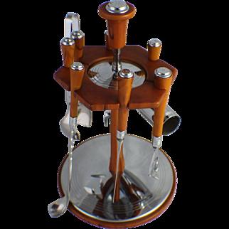 Bar Tools Set Chrome Butterscotch Bakelite Deco Barware Glo Hill Vintage Mid Century