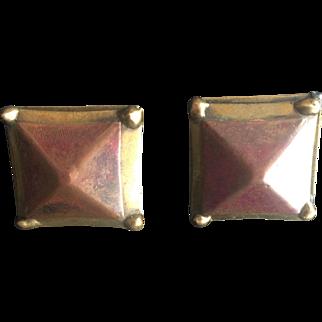 Vintage Modernist Earrings Copper Brass Clip On Jewelry Geometric Art Deco Style