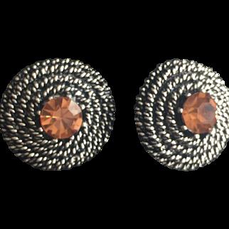 Vintage Earrings Clip On Amber Crystal Rhinestones Costume Fashion Jewelry