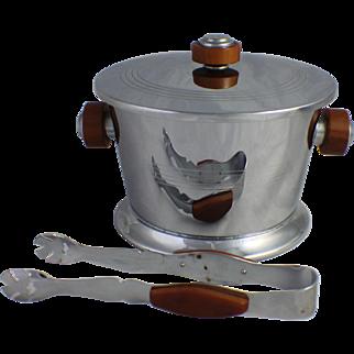 Chrome & Bakelite Ice Bucket w/ Tongs Barware Butterscotch Vintage Mid Century Art Deco Style Glo Hill Canada Bar Cocktail