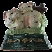 Vintage Cast Iron Pigs Doorstop Wedge Type Original Paint