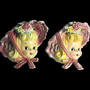 Lefton China ESD Japan Wall Pockets Flower Vase Miss Cutie Pie Kitschy