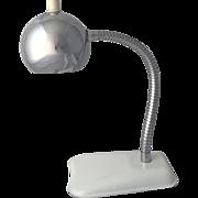 Vintage Chrome Gooseneck Desk Lamp Eye Ball Mid Century Modern Atomic Orb Table Light