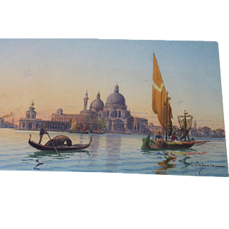 Watercolor Painting UMBERTO ONGANIA Venice Italy Antique Vintage Harbour Sailboat Gondola Architectural