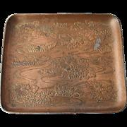 Antique Bronzed Tray Art Nouveau Aesthetic Movement Japanese Lotus Lilies Dish