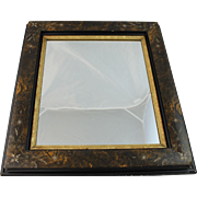 Antique Aesthetic Movement Mirror Gold Black Faux Painted Picture Frame