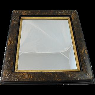 Antique Aesthetic Movement Mirror Gold Black Tortoiseshell Painted Frame
