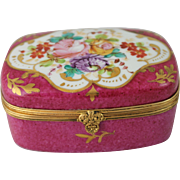 Limoges France Jewelry Casket Trinket Box Hand Painted Flowers Gilt Victorian Antique - Red Tag Sale Item