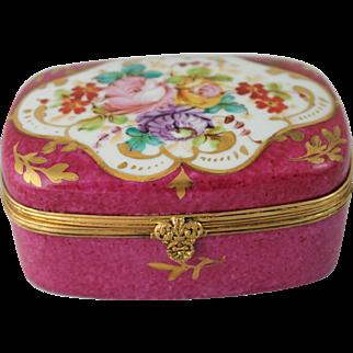 Limoges France Jewelry Casket Trinket Box Hand Painted Flowers Gilt Victorian Antique