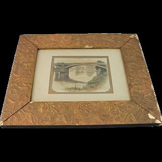 Aesthetic Movement Picture Mirror Frame Gesso Gold Painting 1880 Antique Photo Bridge