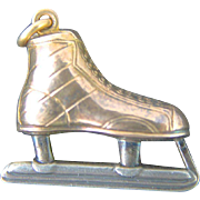 14K Gold Ice Hockey Skate Pendant Charm Art Deco Watch Fob Sterling Silver Jewelry