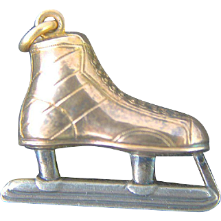 Vintage 3D Ice Hockey Skate Pendant Charm Art Deco Watch Fob 14K Gold Sterling Silver Jewelry Three Dimensional