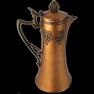Antique Art Nouveau Claret Jug Decanter Copper Brass Pitcher Wine Secessionist