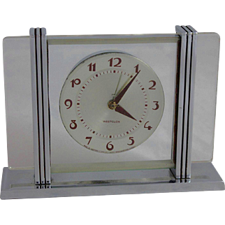 Vintage Chrome Art Deco Machine Age Westclox Alarm Clock