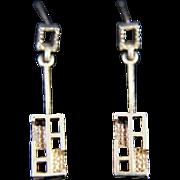 14K Gold Modernist Brutalist Earrings Pierced Jewelry Mid Century Modern Vintage