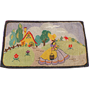 Hooked Rug Mat Folk Art Primitive Cottage Arts & Crafts Vintage Textile Home Decor