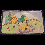 Hooked Rug Mat Folk Art Primitive Cottage Arts & Crafts Colonial Dress Vintage Textile Home Decor