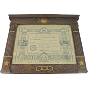 Vintage IOOF Carved Oak Picture Frame Arts & Crafts Movement Independant Order Of Odd Fellows Fraternal Organization Masonic