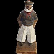 Folk Art Wood Carving Sailor Quebec Signed Primitive Trygg Era
