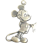 Mickey Mouse Charm Pendant Sterling Silver .925 Jewelry Walt Disney Productions Vintage
