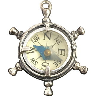 Ships Wheel Compass Charm Pendant Beau Sterling Silver .925 Vintage Jewelry