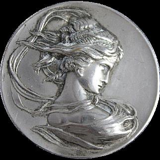 Antique Art Nouveau Jewelry Pin Woman Whiplash Silver Repousse Brooch
