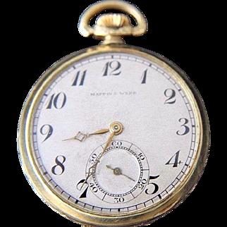 Mappin & Webb Mens Gold Filled Pocket Watch Art Deco