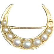 Antique 10K gold Brooch Crescent Moon Seed Pearls Victorian Era Jewelry Pin