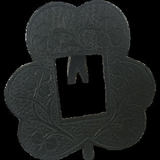 Picture Frame Irish Bog Oak Wood Hand Carved Clover Photo Vintage Victorian Era