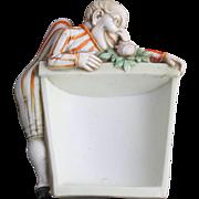 Schafer & Vater Ashtray Match Holder Striker Tobacciana Bisque Porcelain Vintage Ashtray
