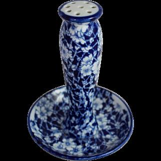 Flow Flo Blue Hatpin Holder Victorian Porcelain Signed