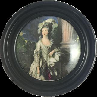 Antique Prattware Pot Lid Marie Antoinette Pratt Ware Victorian Coloured Framed