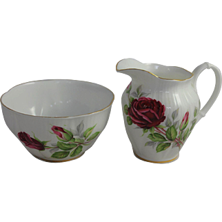 Vintage Royal Albert China Cream & Sugar Royal Canadian Rose