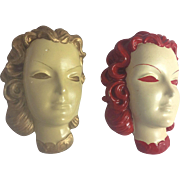 Vintage Art Deco Mid Century Lady Chalkware Head Bust Wall Mask Decor Pair