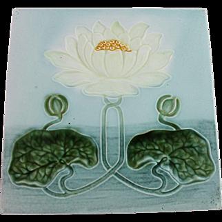 Art Nouveau Majolica Tile Water Lily Art Pottery Porcelain
