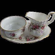 Vintage Royal Albert China Cream & Sugar Tray Lavender Rose Pattern England Creamer Sugar Bowl Set Plate
