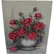 Oil Painting Anne Jaffray Ziegler Canadian Group Style Art Canada Red Roses Vintage