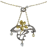 French Art Nouveau Natural Pearl Diamond 925 Silver Gold Pendant Brooch 18k Gold