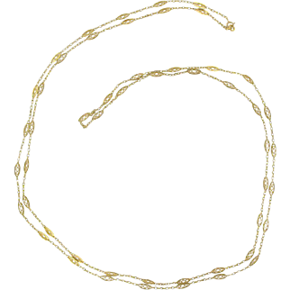 French 1930s Gold Long Necklace 18 Karats Gold Yellow