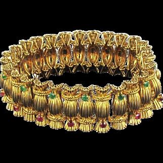 French 1950s Emerald Ruby 18 carat Gold Bracelet 18 Karats gold yellow