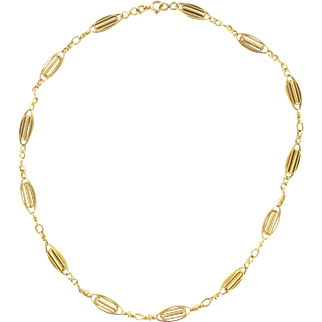 French 19th Century Antique Gold Chain Necklace 18 Karats gold yellow