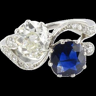 1920s French Sapphire Diamond Gold Toi et Moi Ring