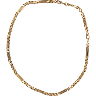 French Antique Rose Gold Chain Necklace 18 Karats gold rose