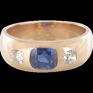 1900s Men or Women Sapphire Diamonds Yellow Gold Band Ring