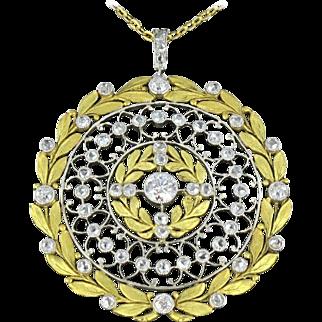 French Rose Cut Diamond Gold Platinum Pendant 18 Karats gold yellow