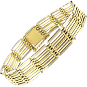 1930s Art Deco French Two Color 18 Karats White and Yellow Gold Bracelet