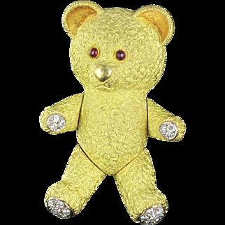 Adorable French Diamond Gold Bear Brooch 18 karats gold yellow