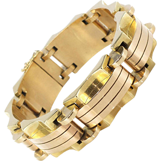 1940s French Two Color Gold Tank Bracelet 18 Karats gold rose and yellow